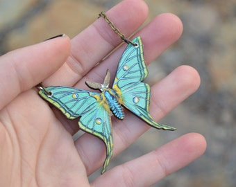 LUNA wooden moth image necklace