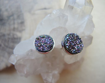 Peacock Druzy Studs, Sterling Silver Studs, Druzy Earrings, Druzy Stone Stud Earrings, Druzy Jewelry Gifts For Her, Silver Bezel Studs