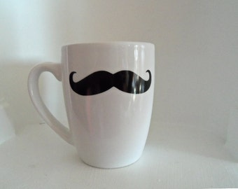 White Mustache Mug, Black Mustache,Housewares,Mugs, Mustache, Home and Living, Coffee Mug, coffee cup, Gift Ideas, Cups & Mugs, Christmas