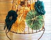 Handcrafted Hanging Bohemian Swag Pendant Light, Repurposed Garden Basket and Pinwheels