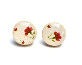 Red Floral Studs. White Studs. wooden Flower studs. Red stud earrings. Flower Post Earrings  Starlight woods.