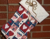 Americana Patriotic Patchwork Red White Blue Hearts Stars Log Cabin Christmas Stocking FREE US Shipping