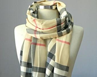 Scarf, plaid pashmina scarf, cream on black and pink , fall autumn fashion