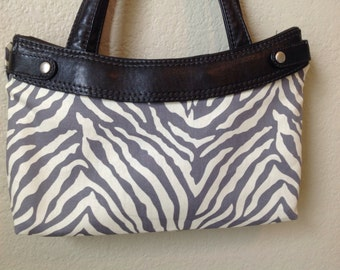 Grey Zebra Stripe Skirt purse cover Thirty One Handmade