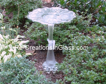 """Garden art.  Bird bath.  Bird feeder. Display a special plant on """"The Penelope."""" Made with repurposed upcycled glass."""