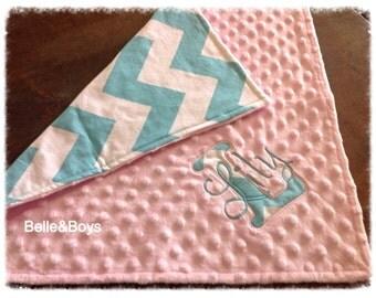 "Aqua chevron light pink minky personalized baby lovie security blanket 18""x18"""