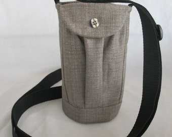 Water Bottle Holder Sling//Walkers Insulated Water Bottle Cross Body Bag// Hikers Water Bag-Brownish green Fabric