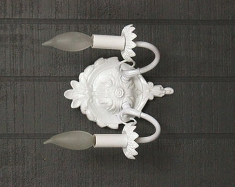 Reserved for Kim - White Wall Sconce, Shabby Chic Style Wall Light, Wall Lights, Cottage Lighting, Beach House Sconce