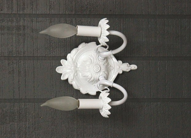 White Wall Sconce Shabby Chic Style Wall Light by LightLadyStudio