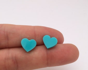 Large Turquoise Acrylic / perspex laser cut earrings heart studs - teal aqua