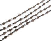 1 meter Smoky quartz Gemstone Beaded Chain with Black Rodhium Plating Faceted Roundelle Beads Cluster Bulk Spools wholesale jewelry findings