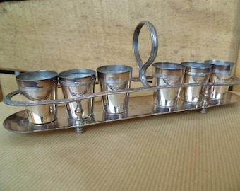 6 Liqueur Shot Glasses Cups Silver plate in Tray Vintage French 1920s ideal for Armagnac or Eau De Vie