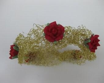 crochet bracelet with rose