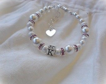 Baby Bracelet-Personalized-Initial-First Pearls-Newborn