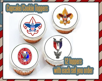 Eagle Scout Court of Honor Boy scout  Edible cookie toppers cupcake tops party decoration