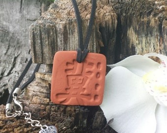 """CHINESE """"HOPE""""  SYMBOL- Character  Terra cotta Clay  Essential Oil Diffuser Pendant for Aromatherapy Necklace"""