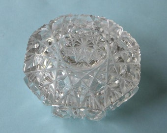 """Crystal Jewelry Holder Fine Vintage Cut Glass 3 1/4 x 2 1/2"""" Dish EUC Lovely Home Decor Glass Accessory Take 10% Off Vintage Items in Shop"""