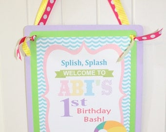 POOL PARTY Happy Birthday or Baby Shower Door or Welcome Sign
