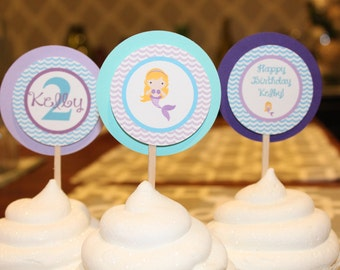 PREPPY MERMAID  Baby Shower or Happy Birthday Cupcake Toppers Set of 12 {1 Dozen} - Party Packs Available