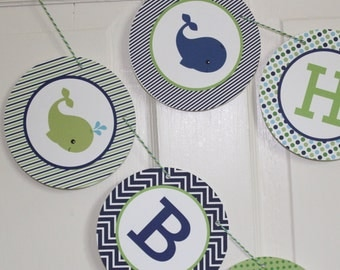 PREPPY WHALE Theme Happy Birthday or Baby Shower Banner Blue Green - Party Packs Available