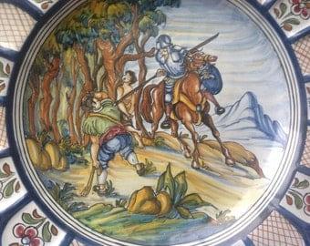 Vintage Spain ceramic maiolica big hand painted plate
