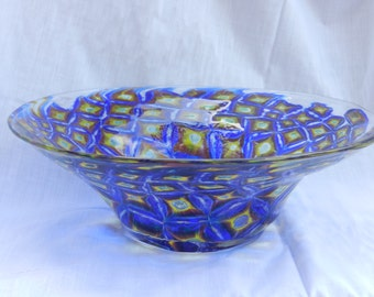 "Handblown blue ""andalusite"" murrini pattern glass bowl"