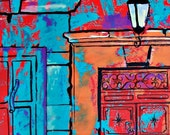 "Original painting art of red door in San Miguel Mexico Colonial town architecture wall decor for restaurant acrylic on paper  19.5""x 25.5"""