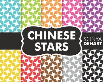 70% OFF SALE Digital Paper Chinese Stars Background Patterns