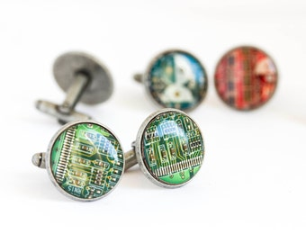 Circuit board Cuff links - Geeky computer cufflinks - antique silver, resin