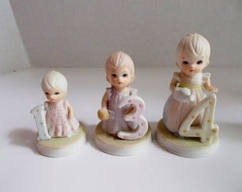 Vintage Lefton Birthday Girl Figurines YOUR CHOICE The Christopher Collection 1983
