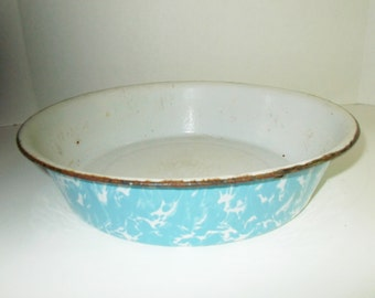 Vintage Blue Enamelware Pan Blue Turquoise Deep Dish Swirl Graniteware
