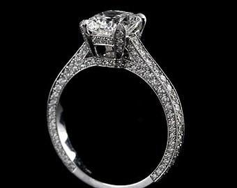 Diamond Pave Engagement Ring, 2CT Cushion Forever One Moissanite Ring, Vintage Style Milgrain Proposal Ring, 18K White Gold Diamond Ring
