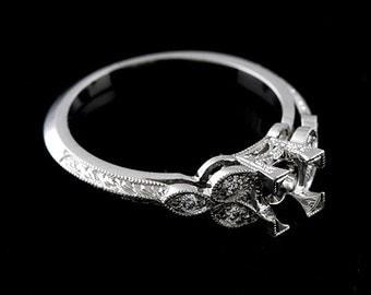 Platinum Vintage Edwardian Style Diamond Hand Engraved Engagement Ring Setting