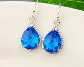 Cobalt Blue Earrings - Blue Bridesmaid Earrings - Silver Blue Crystal Drop Earrings - Capri Blue Glass Earrings -