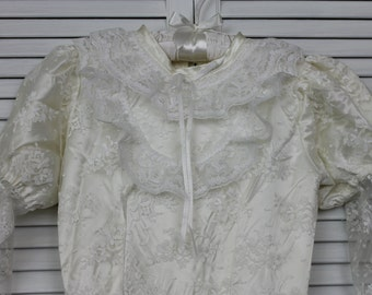 Vintage Girls White Satin and Lace Dress