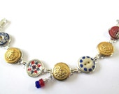 COAST GUARD antique button bracelet. USCG uniform buttons, 1800s china and glass buttons