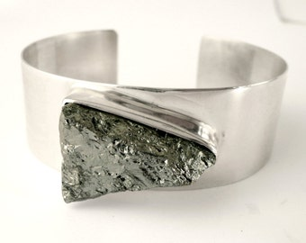 cuff sterling silver bracelet with galena mineral stone