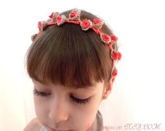 mini flowers on head, baby girl headband, elastic crochet headband