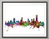 Melbourne Skyline, Melbourne Australia Cityscape Art Print (1287)