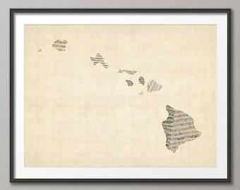 Hawaii Old Sheet Music Map USA, Art Print (1090)
