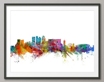 Cape Town Skyline, Cape Town South Africa Cityscape Art Print (1273)