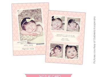 INSTANT DOWNLOAD - Birth announcement Photoshop template- E477