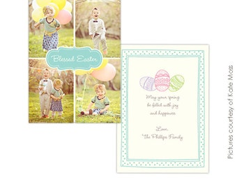 INSTANT DOWNLOAD  - Easter Photocard - Photoshop Template - E343