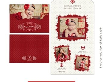 INSTANT DOWNLOAD  - Folded Luxe Card Template- Romantic Christmas 5x7 - E206