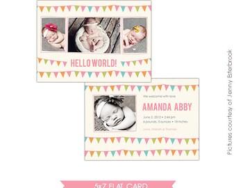 Birth announcement template - Birth Celebration - Photoshop files- E490
