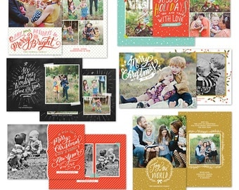 INSTANT DOWNLOAD - Christmas Card Photoshop templates - Bundle - e1079