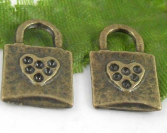 5  Lock Charms Antique Bronze Tone Metal 15 x 9 mm -  bz240