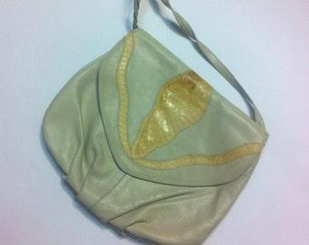 Tan leather and snakeskin purse handbag