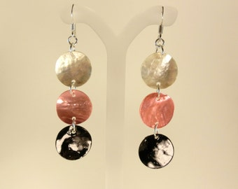 Pink, Black & White Drop Earrings