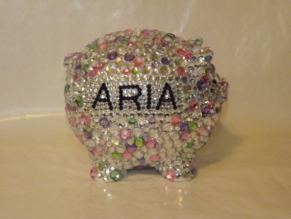 Rhinestone bling custom large piggy bank by evrhinestones on etsy - Rhinestone piggy bank ...
